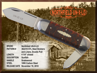 "#362210 Northfield UN-X-LD Sunfish Snakewood. NOTE: ""UN-X-LD"" ON THE BLADE IS STAMPED INTO THE METAL.  1095 carbon steel, double pulls, steel bolsters and liners, 3 1/2"" closed length."