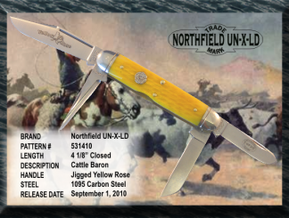 "#531410 Northfield UN-X-LD Cattle Baron, Jigged Yellow Rose, 4 1/8"" closed length, 1095 carbon steel."