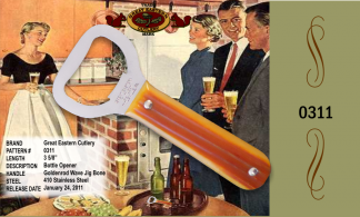"#0311 Great Eastern Cutlery Bottle Opener, Goldenrod Wave Jig, 3 5/8"" long, 410 Stainless, 3 5/8"" long."
