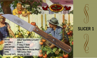 "Slicer 1 Great Eastern Cutlery Vegetable Slicer, Exotic Mexican Bocote Wood, 1095 carbon steel. 7"" long, blade 3""."